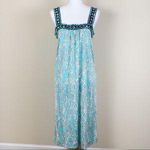 Tory Burch Teal 100% Silk Jeweled Shift Dress